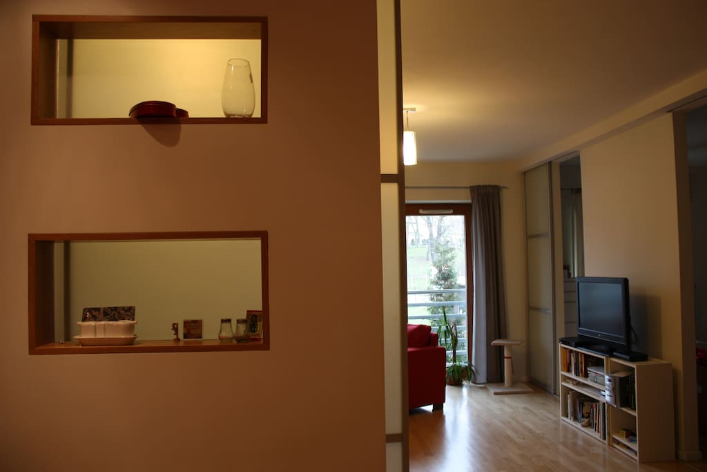 View from the kitchen to the salon. International stations available in a TV, free wifi in the apartment.