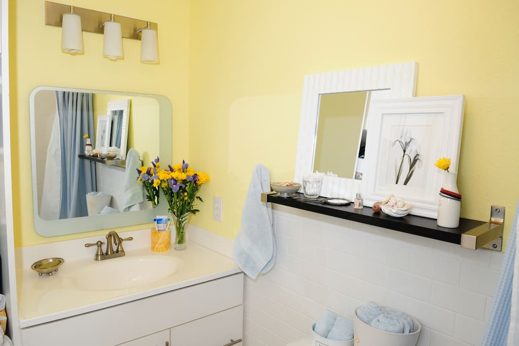 Bright cheery bathroom.