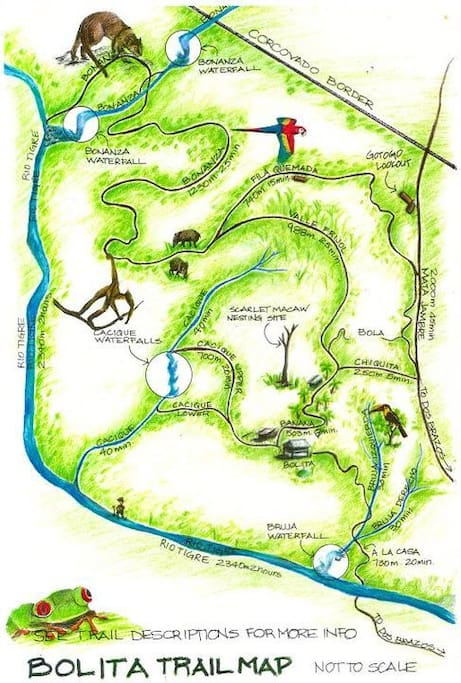 The Bolita trail map. All trail use is included with your stay.