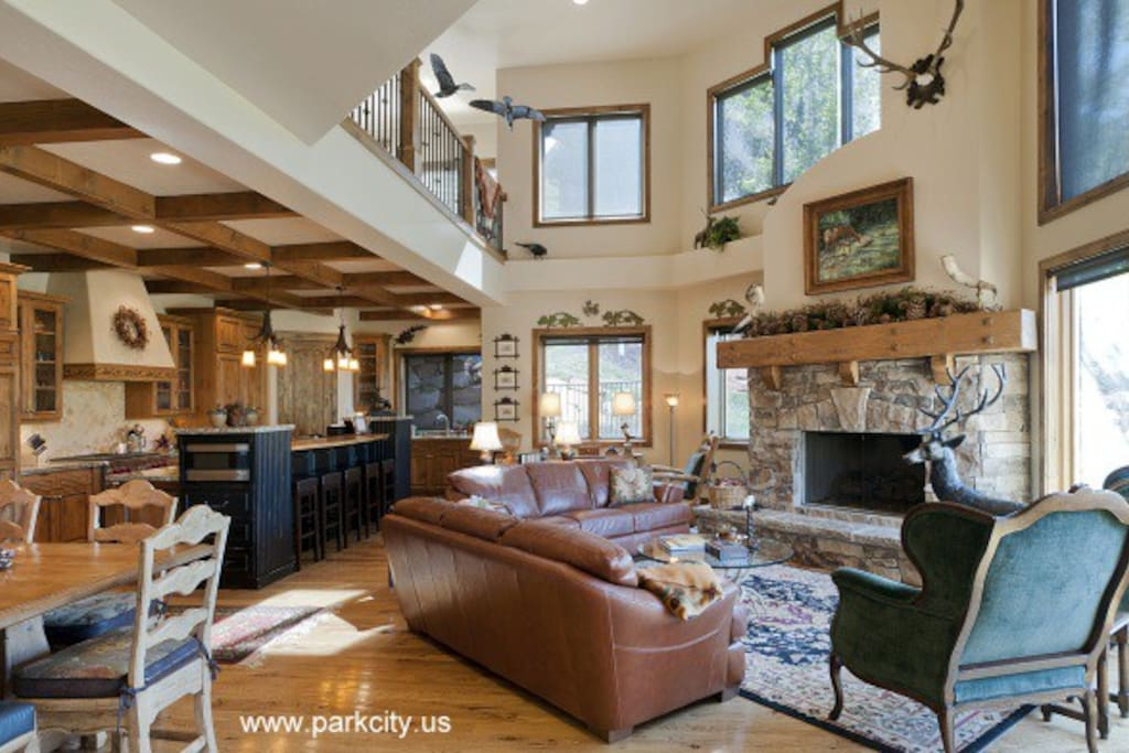 Large Open Kitchen, Dining and Living Area with Views to Deer Valley Slopes