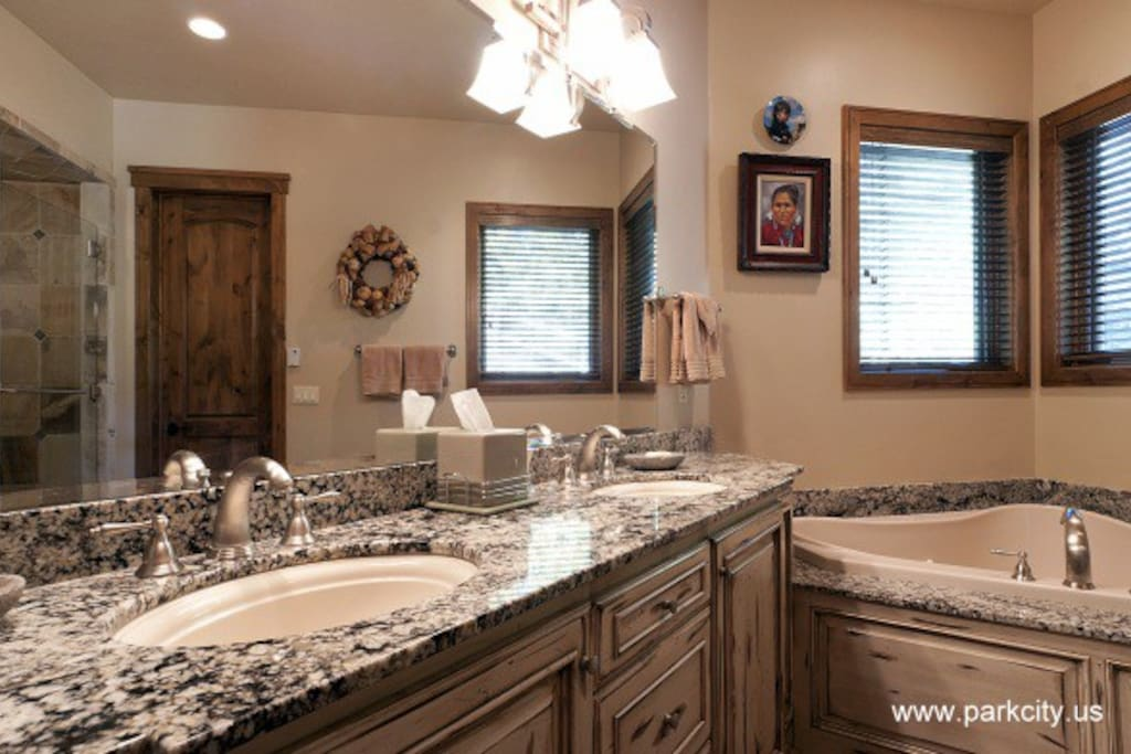 Master Bathroom Includes Large Tub and Walk In Shower