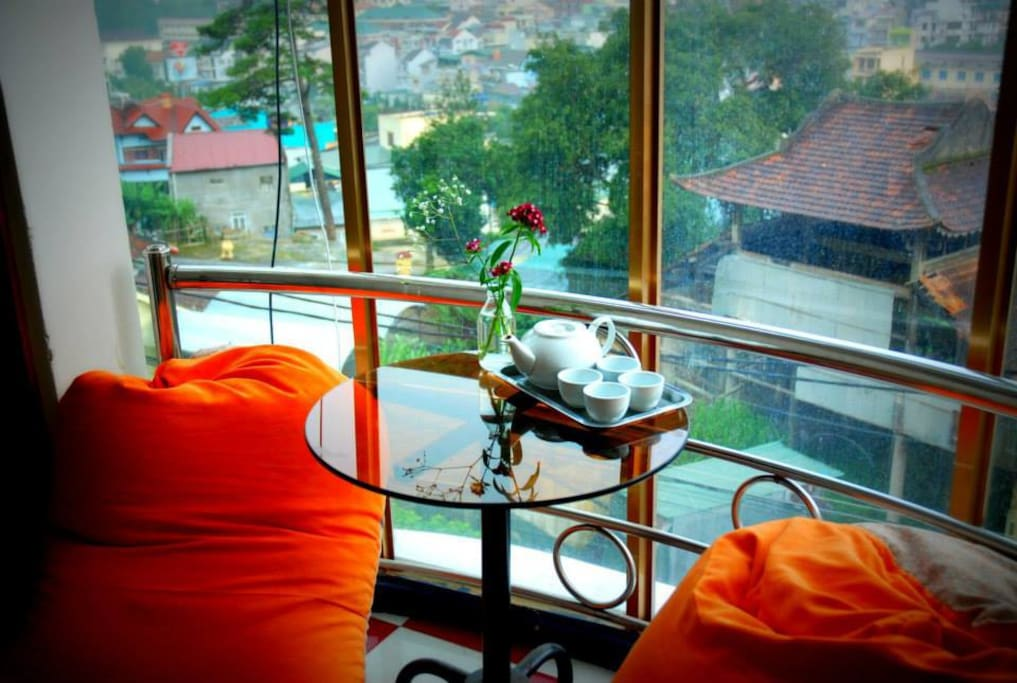 Our landings offer peacful places to sit and take in the view, especially good on a rainy day