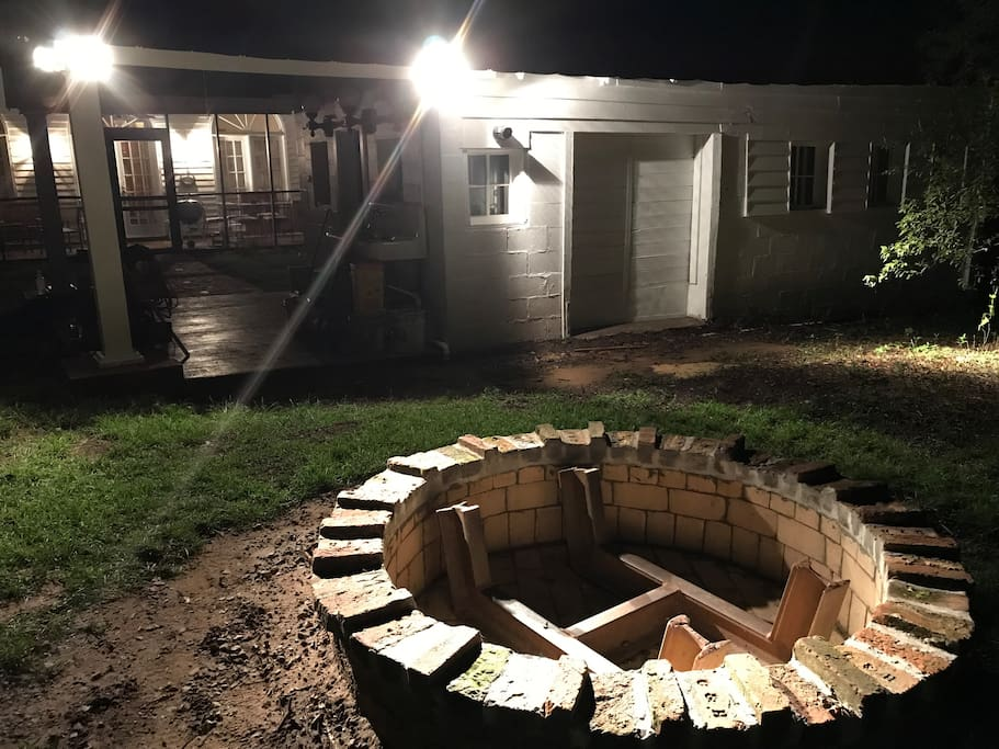 Large Custom Built Fire-pit.  Truly an indoor/outdoor entertainment space!