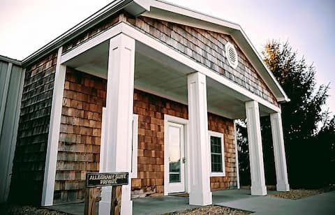 The Allegheny Suite features a private keyless entry. This suite is 2 BR/1 BA and is set in our main barn space. It is convenient to our taproom and reception area. Perfect setting for those hosting a wedding. Convenient sidewalks  & one level space.