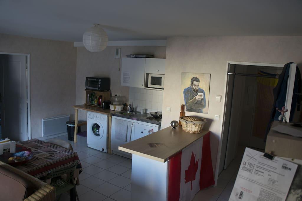 La cuisine dans la pièce principale, avec un lave linge, un petit four et un micro-onde.