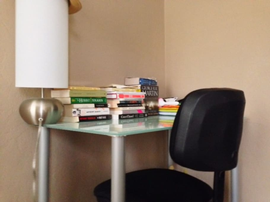 Spacious and comfortable desk -- Feel free to borrow any books!