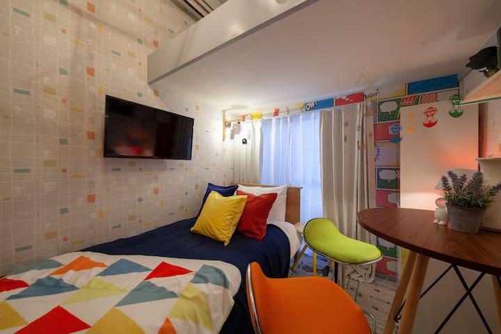 Colorful design apartment max 3ppl #102