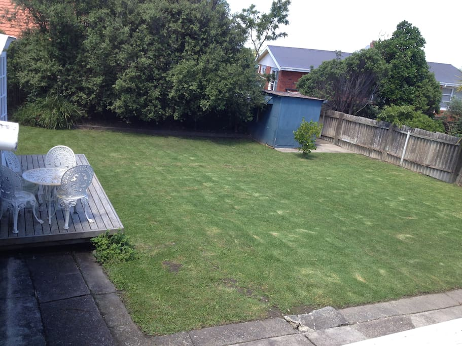 Large spacious fully fenced backyard.  ideal for friendly dogs.