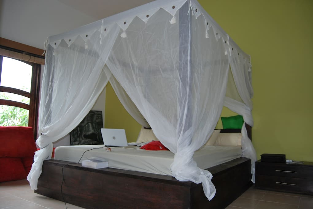 king size bed in large room with big space for clothes and on suite badroom with bathtub,aquarium,shower and toilet