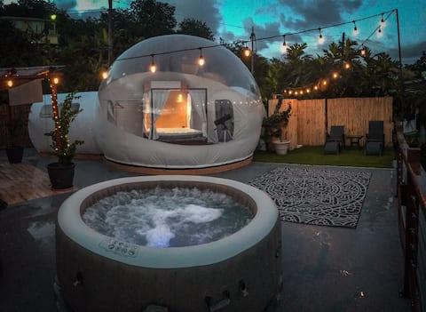 Habitación Burbuja con vista, Jacuzzi spa, cocina.
