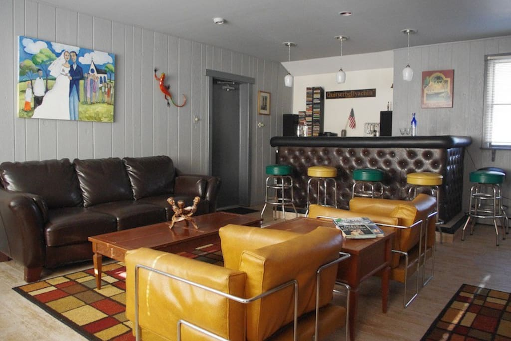 Large retro-style bar room with great stereo.