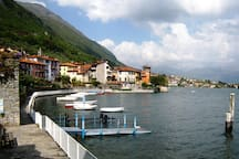 The 'Lungo Lago' Walk runs along the waterfront from Hotel Taverna Bleu towards the swimming area