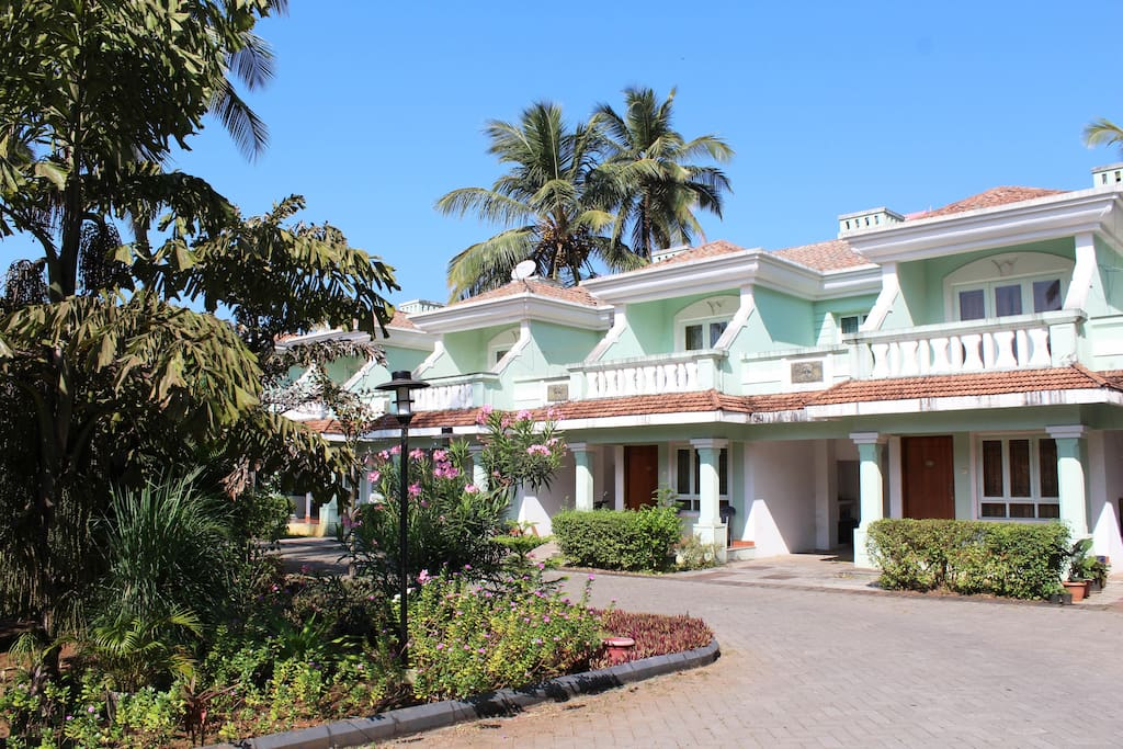 A view of the villa from the shared open space