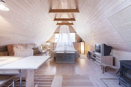 Wooden attic near Nasva beach& river