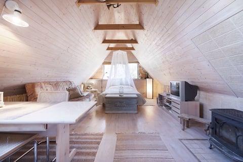 Wooden attic near Nasva beach& river