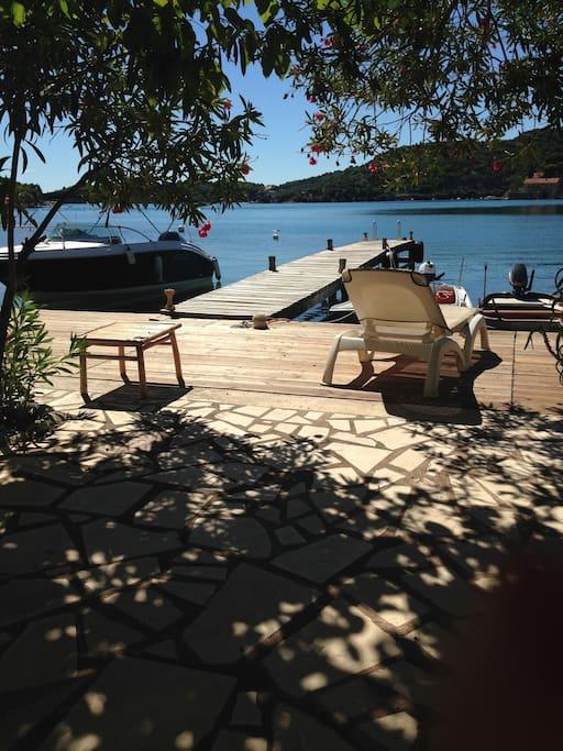 Terrace & private beach