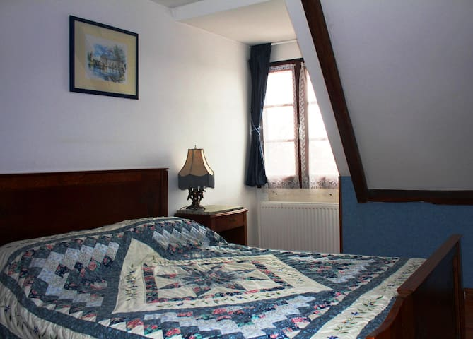Bedroom with Large double bed and lovely view of the valley