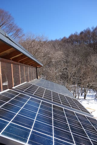 two solar energy panels give us electricity enough/ソーラーパネル