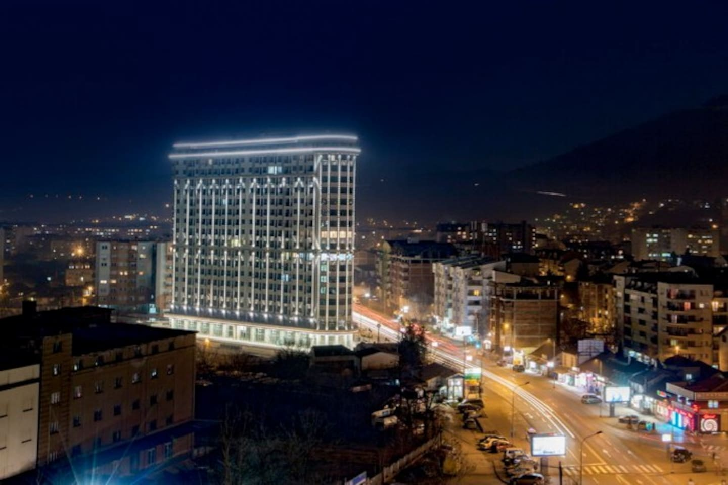 Outstanding  night view of the building, it's very very beautifull. Really is a star!