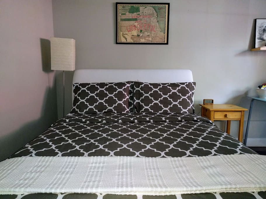 Queen size bed with pillowtop mattress and soft sheets. Our guests often comment on how comfortable the bed is!