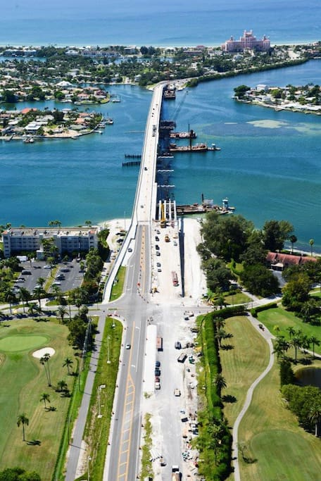 Bridge from Isla Del Sol to St. Pete Beach and the Don Cesar. It is fully completed now.