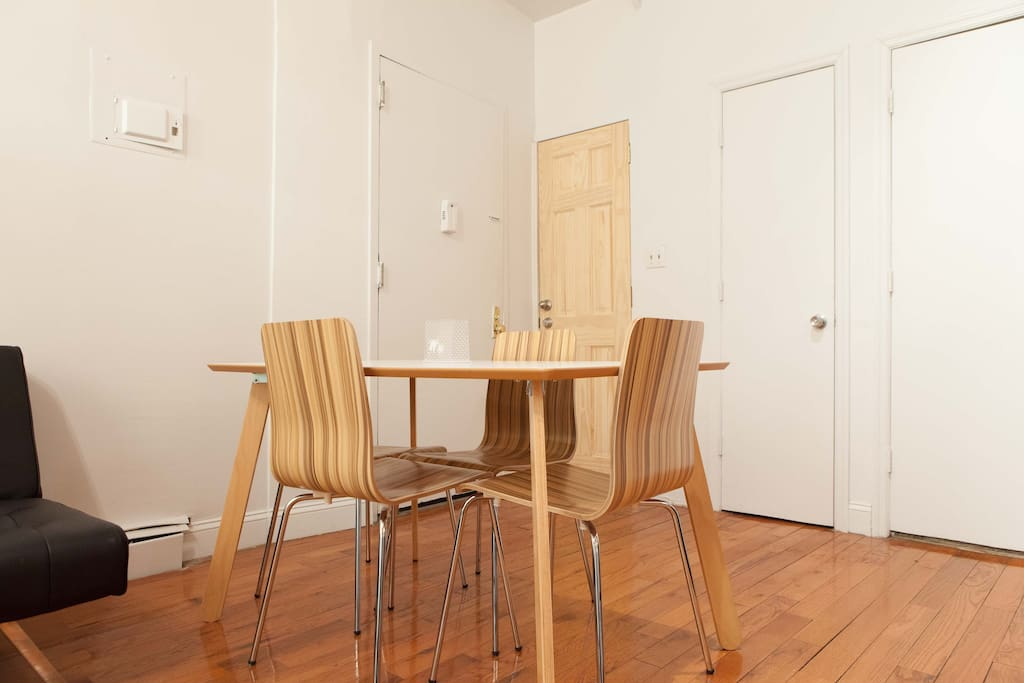 Kitchen table with four chairs.