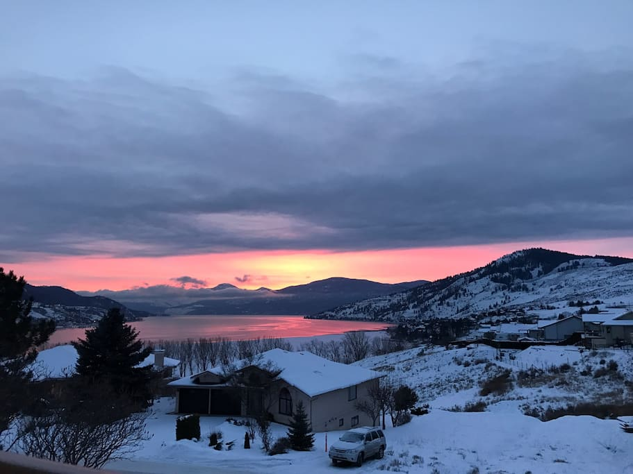 Beautiful sunset over Okanagan Lake from our front deck taken by Angela