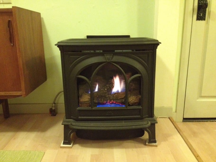 Gas fireplace on programmable thermostat keeps things cozy.