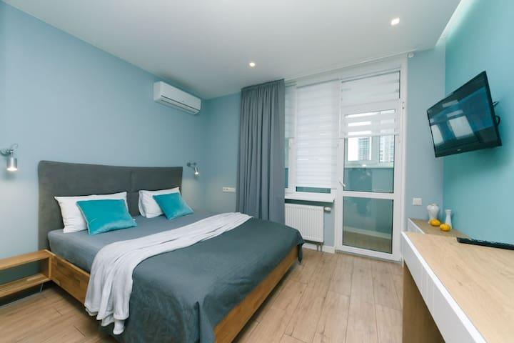 Happy apartment, warmth, comfort, turquoise