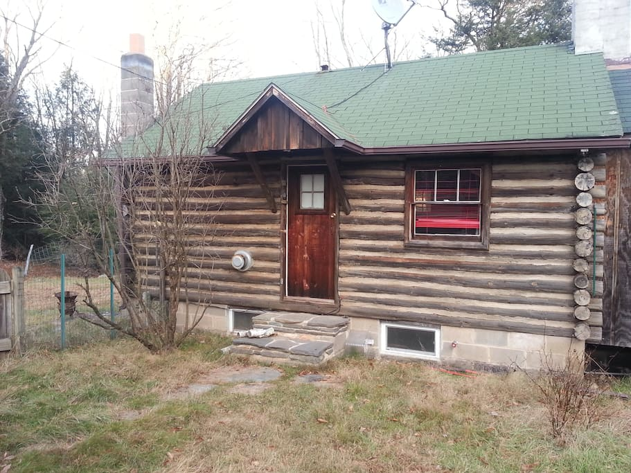 An authentic log cabin in the woods...