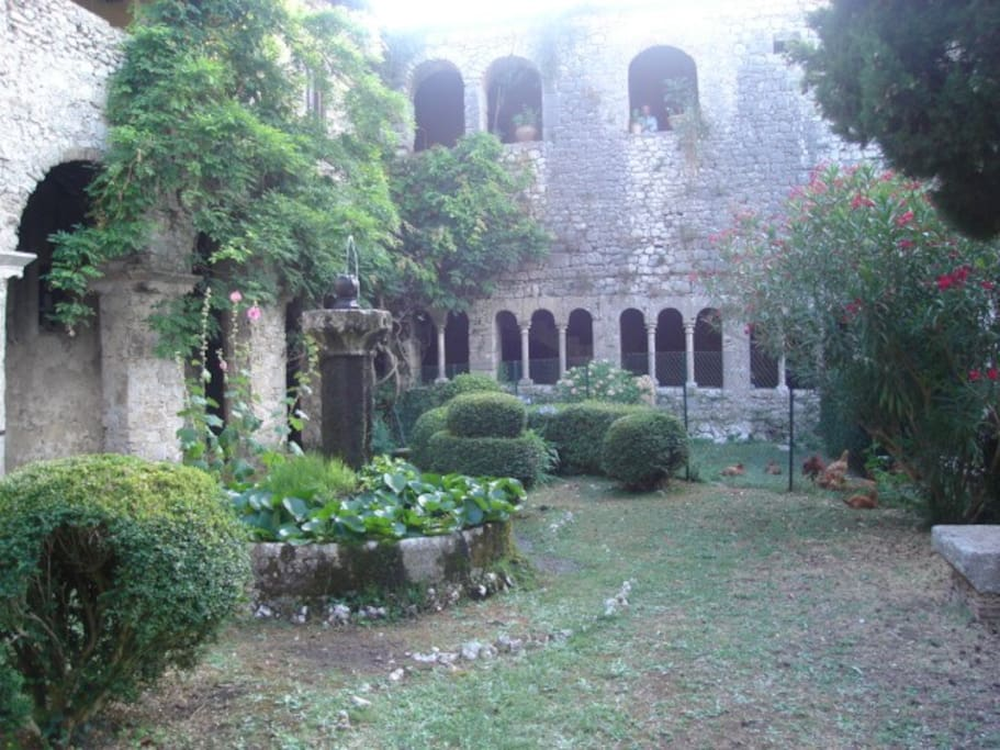 Courtyard of ancient abbey(built atop Roman ruins) in nearby countryside