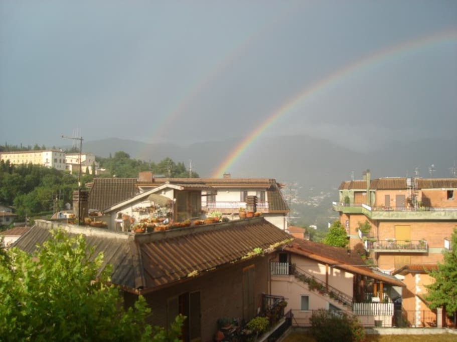 View of a double rainbow from the terrace of the Mansard