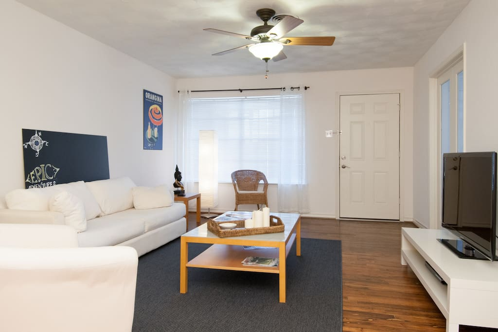 The TV in the living room is connected to the internet which can be logged into Netflix, Hulu, or Pandora if you have an account. It also has local channels only.