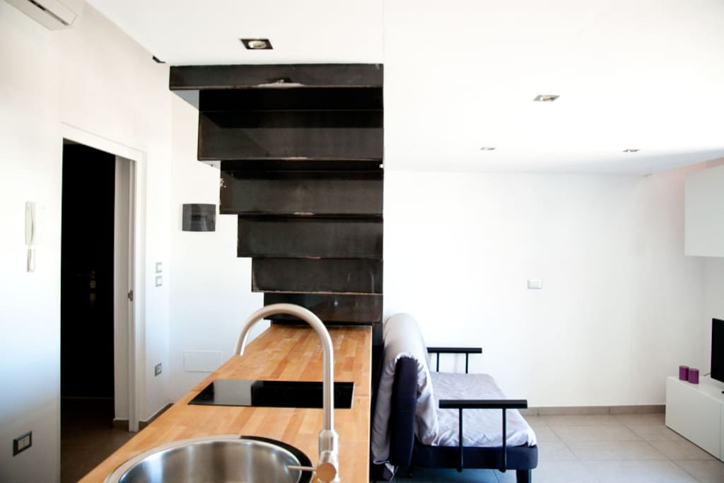 cucina, zona living, divano
