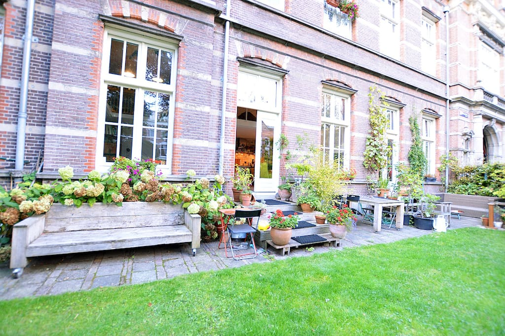 Lovely outside view from the garden of the apartment and a terrace where you can relax