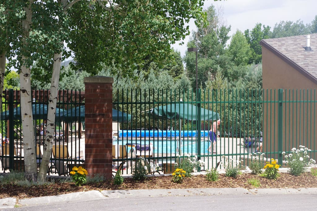 Heated outdoor pool and hot tub are open year round.  Clubhouse features cozy fireplace, and dry sauna to soothe tired muscles.