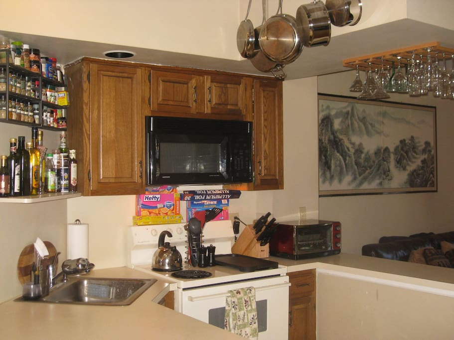 Kitchen: full amenities including oils and spices