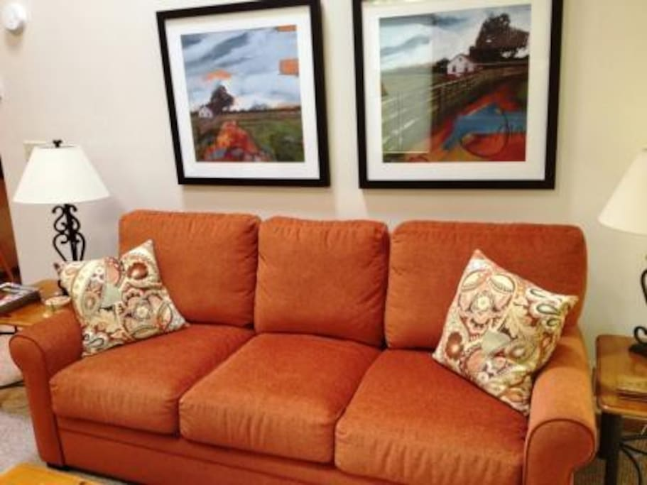 Living room includes this comfortable sofa bed with memory-foam matress.