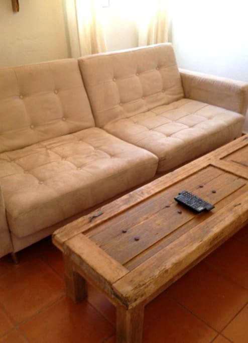 CUSTOM SUEDE SOFA (FOLD OUT FOR EXTRA BED)