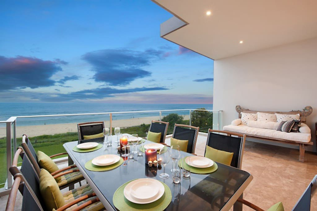 One of two Terraces facing Beach Front with BBQ