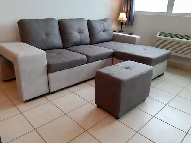 Comfortable sectional sofa bed living room area