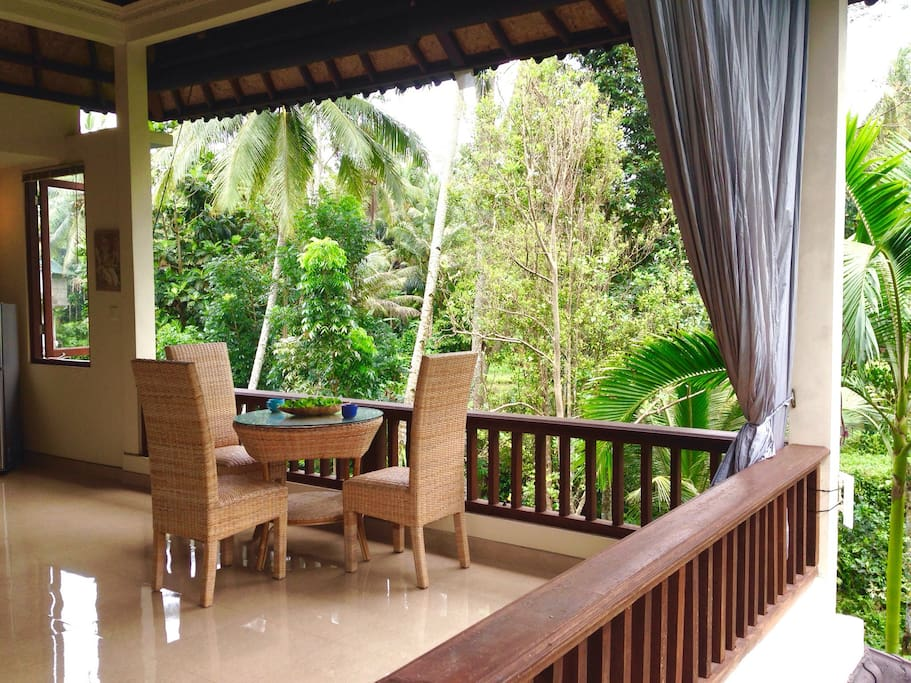Specious balcony, very private and amazing nature sounds on back for relaxing moments