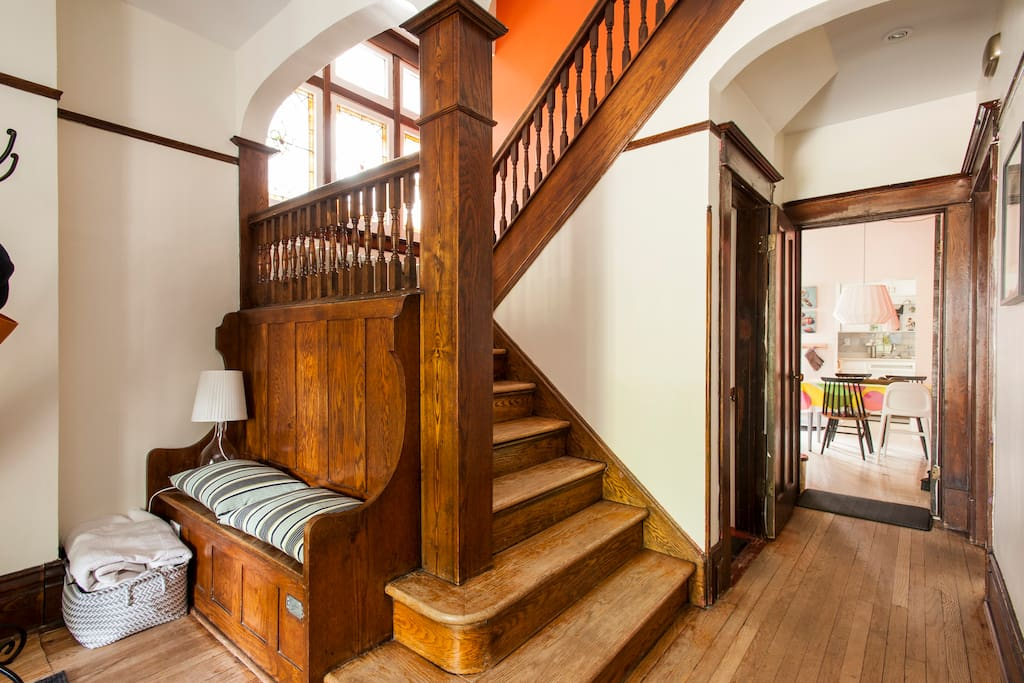 Front hall for a comfortable family arrival. Staircase . The stairs are creeky but safe, please keep in mind this is a century old home. The floors are original to the house, they are old but clean.