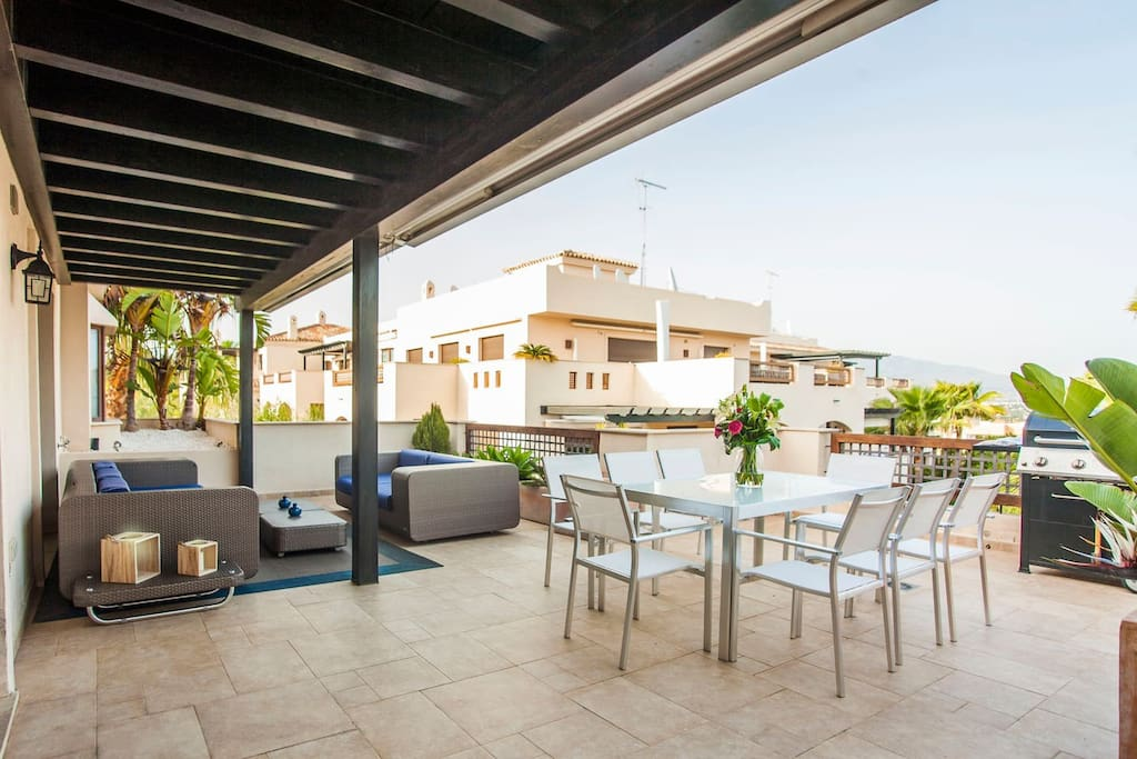 Private and ample terrace with BBQ and stunning views.