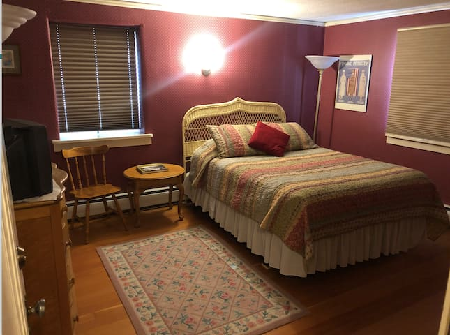 The Red Room- queen bed in historic log home