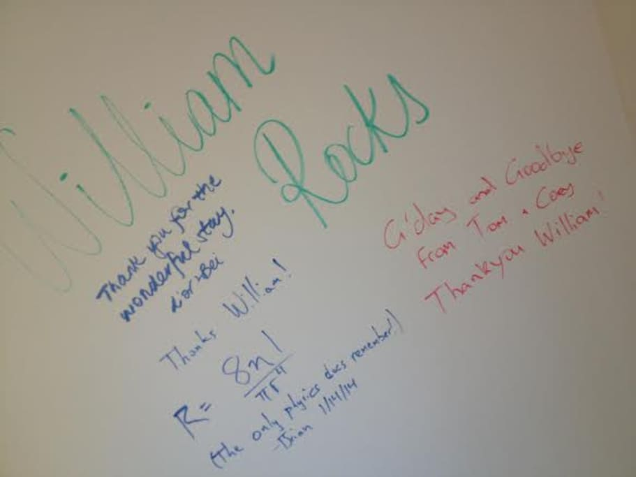 The AirBnB guest wall in the home. All guest get a chance to leave their mark!