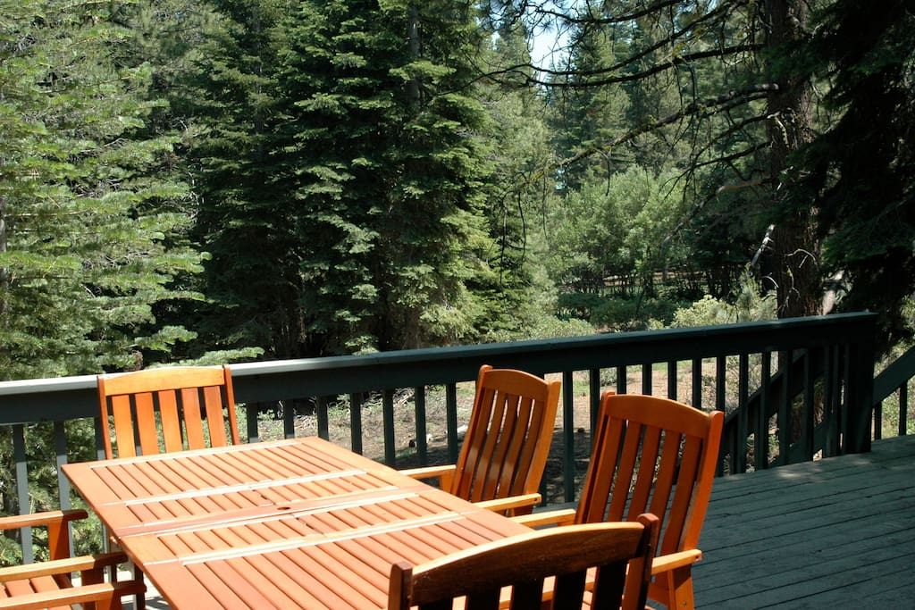 Patio furniture (umbrella not pictured) on large deck