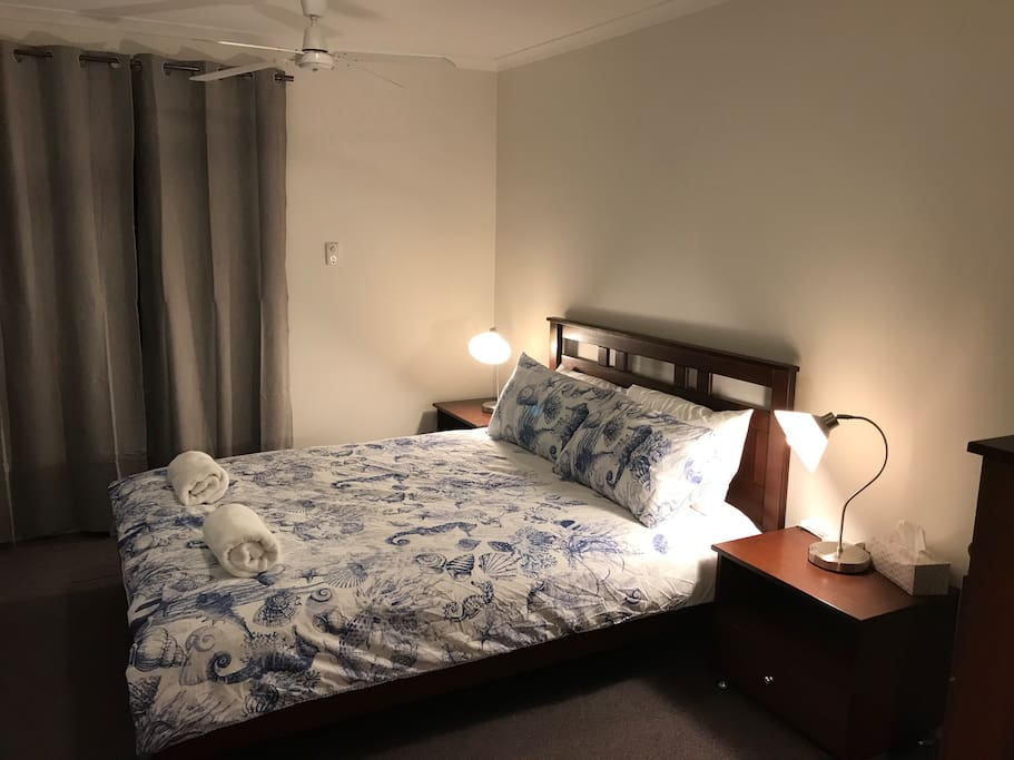 Main bedroom with chest of draws and Queen size bed with new mattress