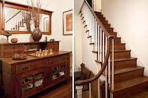 In the entry foyer:  the authentic Mission sideboard, at left and grace pumpkin pine floors at right.