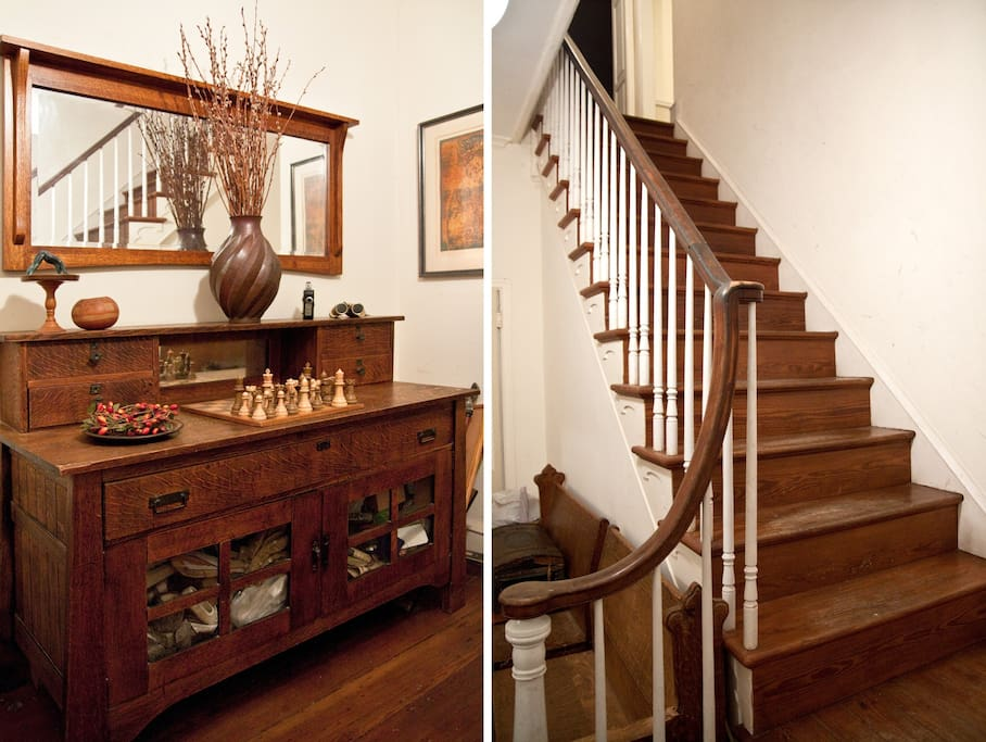 Enter the home in a foyer with the Mission sideboard at left, and then up the stairs to a gracious landing.